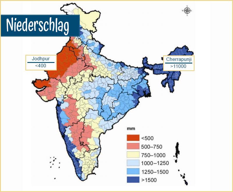Auf Regionen interpolierte jährliche Niederschlagssumme in Liter pro Quadratmeter. Basierend auf Daten von 1971-2005.