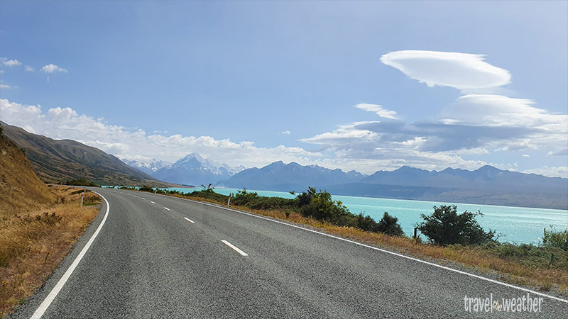 Auf dem Weg zum Mount Cook Nationalpark, am Lake Pukaki vorbei.