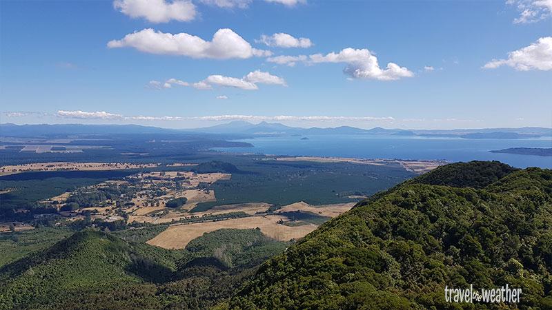 Tolle Fernsicht vom Tauhara nach zwei Stunden Aufstieg.