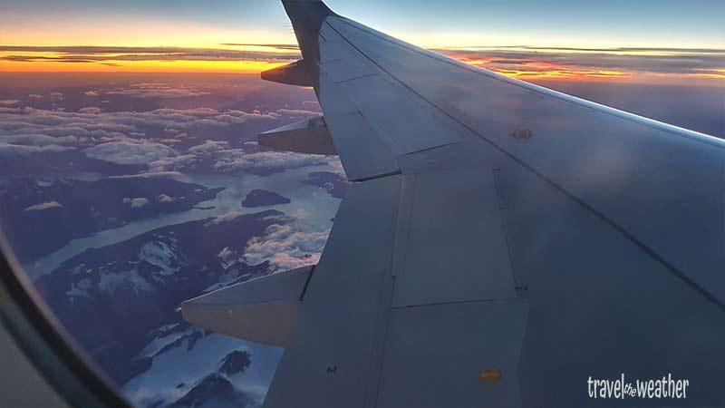 Sonnenaufgang kurz vor unserer Landung in Punta Arenas.