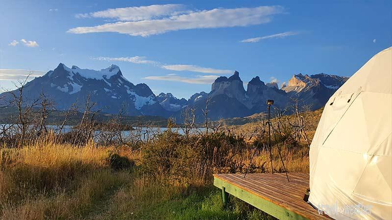 Toller Ausblick von unserem Zeltplatz am Lago Pehoe.