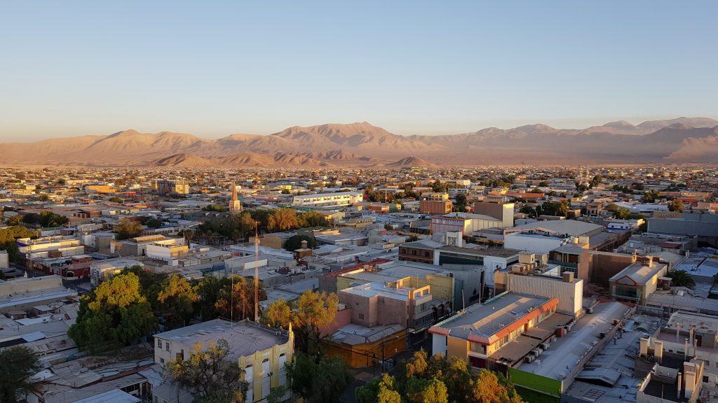 Wir haben einen tollen Blick über Calama an unserem ersten Morgen in der Atacama.